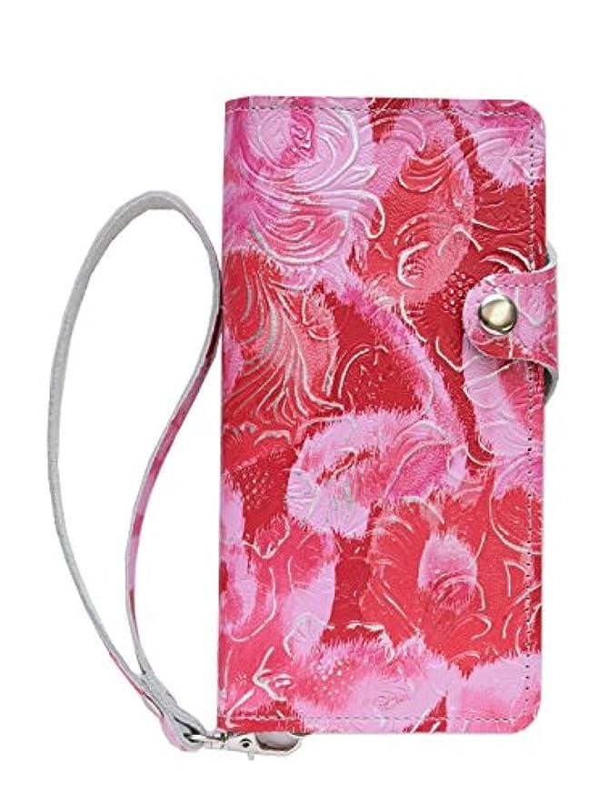 経験者明確に成り立つZenFone Go ZB551KL スマホ ケース 手帳型 本革 (牛革) 【ハンドメイド 受注生産】 カバー (ボタン タイプ) ブックタイプ 花柄 かわいい レディース ピンク