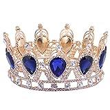 Dovewill 結婚式 ブライダル 仮装 パーティー 花嫁 バロック クラウン 女王 プリンセス ファンシー 髪飾り ティアラ 全4色 - 青