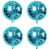 uxcell バルーン 家庭 誕生日 結婚式 ホイル 星の柄 円形 風船 空 ブルー 45.7cm 4個入り