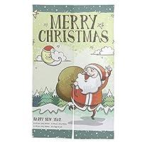 のれん サンタクロース クリスマス 暖簾 ノレン カーテン おしゃれ 間仕切り 遮光 目隠し ロング 断熱 つっぱり棒 突っ張り棒 伸縮棒付き 86*143cm インテリア 喫茶店 居酒屋 飾り付け 装飾