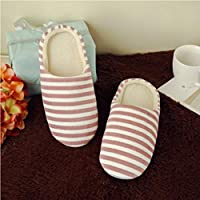Women's & Men's Striped Indoor Cotton Slippers Anti-Slip Winter House Shoes Soft Bottom Cotton Slippers Home Slippers - Rose Red 36/37