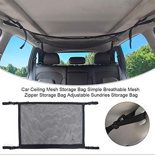車用、収納袋、天井、メッシュ、シンプル、通気性、ジッパー付き、調節可能、荷物...