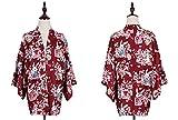 (ジ-ライク)G-likeジャパン和風桃の花うさぎプリント羽織ビンテージジャパン少女ショート着物コート(レッド)