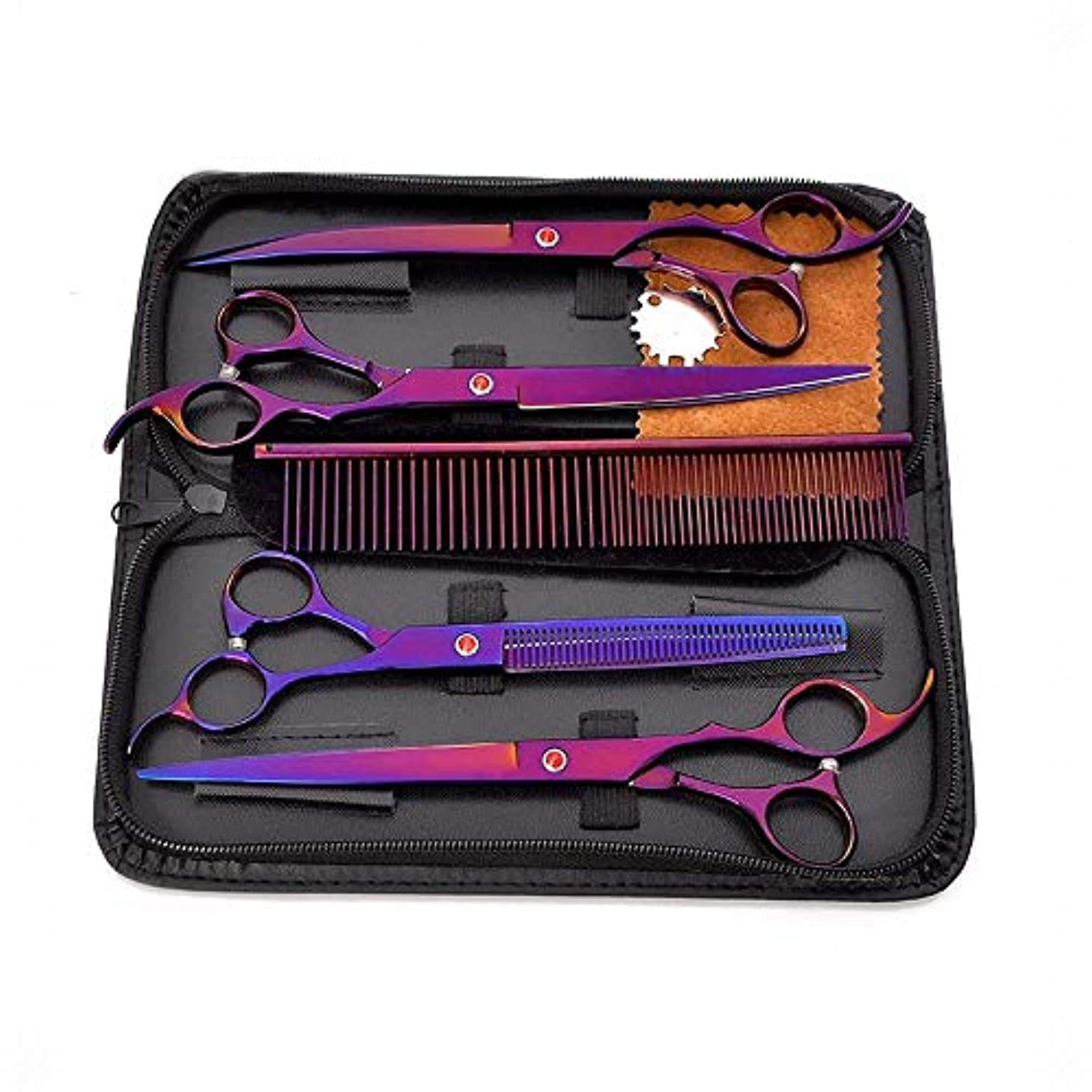 うまくやる()アイドル解体する8インチペットグルーミングはさみセット4、ステンレス鋼パープルペットプロフェッショナル理髪フラットせん断+歯はさみセット ヘアケア (色 : 紫の)
