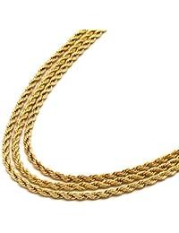 Men 's 24 Kゴールドトーン3個3.5 MMのロープチェーン24