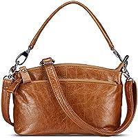 Lecxci Womens Small Multi Zipper Leather Crossbody Bag Top-handle Handbags Travel Purses for Women
