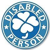 【マグネット/ブルー】クローバーマーク 身障者マーク マグネット ステッカー/四葉マーク 福祉車両 車椅子 車イス