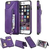 WVYMX iPhone 6S Plus Wallet with Card Holder, カバー スタンド機能 横開き 軽量 薄型 耐衝撃 高級 PUレザー 折り畳み式 手帳型ケース 全面保護カバー カード収納 for iPhone 6S Plus Purple