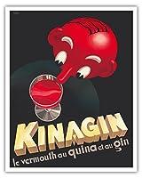 Kinagin - キニーネとベルモットとジン - フランスの酒 - ビンテージな広告ポスター によって作成された E. P. c.1941 - アートポスター - 41cm x 51cm