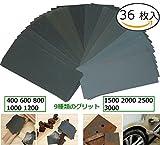 Lontenrea サンドペーパー 紙やすり 耐水ペーパー 研磨紙 木工 ペーパー 研磨用 36枚入り(400 600 800 1000 1200 1500 2000 2500 3000 各4枚)