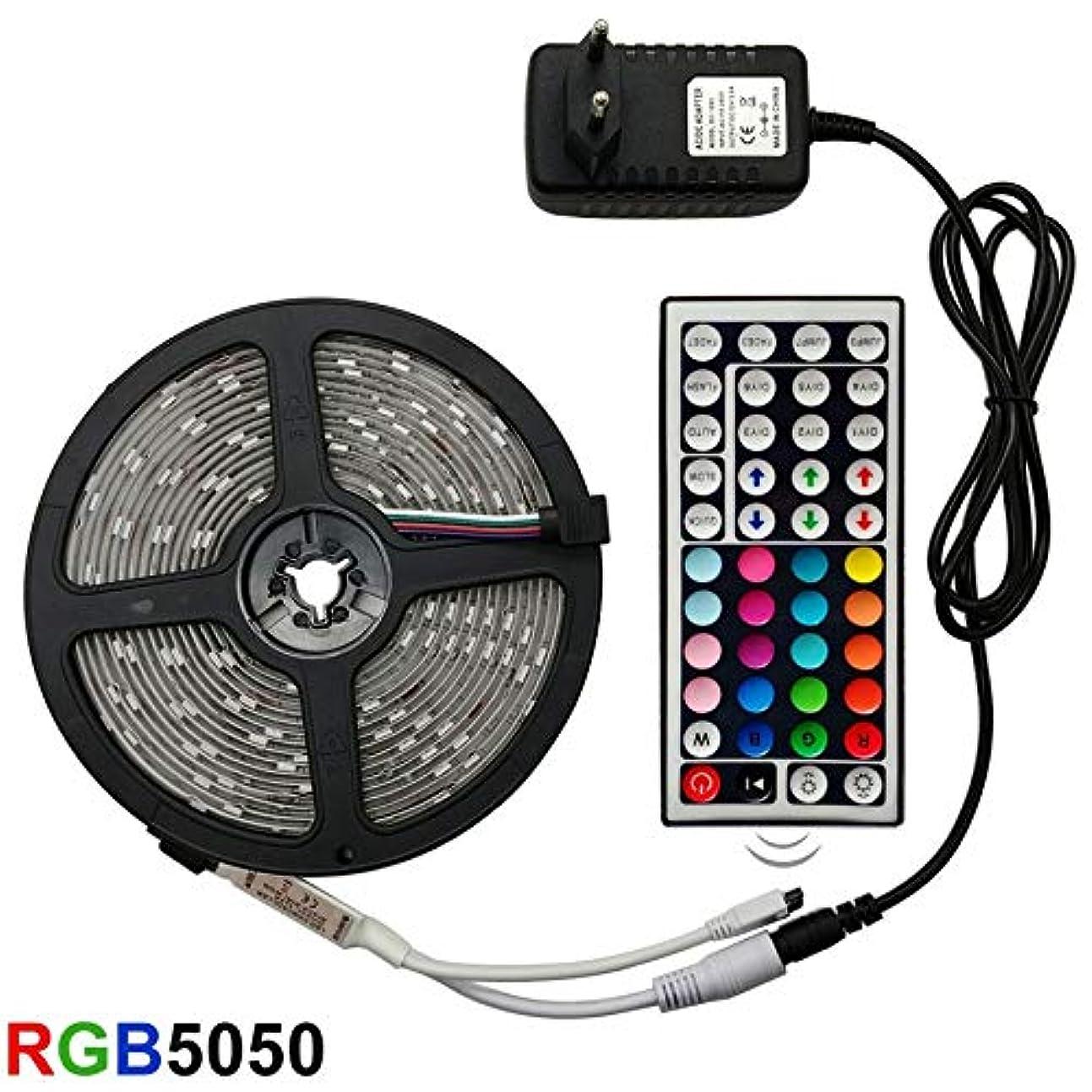 ロッカー本土分盛世汇众 LEDストリップライトRGB 5050 SMD 2835柔軟なリボンフィッタは、光ストリップRGB 5M 10M 15MテープダイオードDC 12V +リモートコントロール+アダプターを主導しました (色 : Waterproof, Emitting Color : RGB 5050)