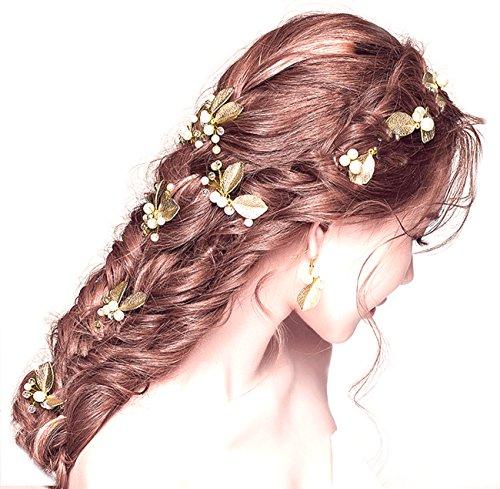 My Topaz ゴールド 葉っぱ モチーフ かわいい 髪 飾り ヘア アクセ パール Uピン ヘア ピン コーム セット 結婚 パーティ ドレス 着物 (12 個セット)
