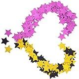 [ローアスポス] 星 紙吹雪 ペーパー スター シャワー イベント 結婚式 コンフェッティ (400個 / 黒金,紫 各200個)