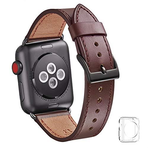 WFEAGL コンパチブル Apple Watch バンド,は本革レザーを使い、iWatch Series4/3/2/1、Sport、Edition向けのバンド交換ストラップです コンパチブル アップルウォッチ バンド (38mm 40mm, ダークブラウン バンド+黒 四角い バックル)