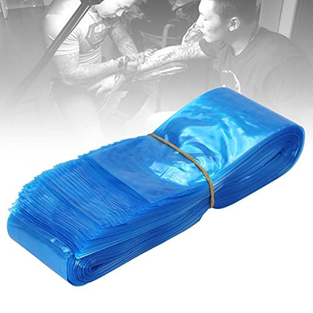 前書き恐れエスカレート100ピース使い捨てプラスチックブルー医療衛生タトゥーマシンクリップコードフックスリーブカバーバッグ