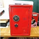 Prettyia 18cm Metal Piggy Bank Safe Money Saving Box Case Gift Table Organizer Red