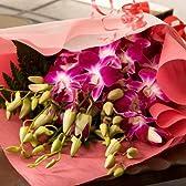 翌日配達お花屋さん 海外から空輸された蘭は、新鮮そのもの。南の国の暖かな環境が色鮮やかに育てました!新鮮洋蘭デンファレ花束(長持ち剤付・メッセージカード付)