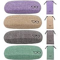 4 Pack Hard Shell Eyeglasses Glasses Case Linen Glasses Protective Case for Eyeglasses Sunglasses