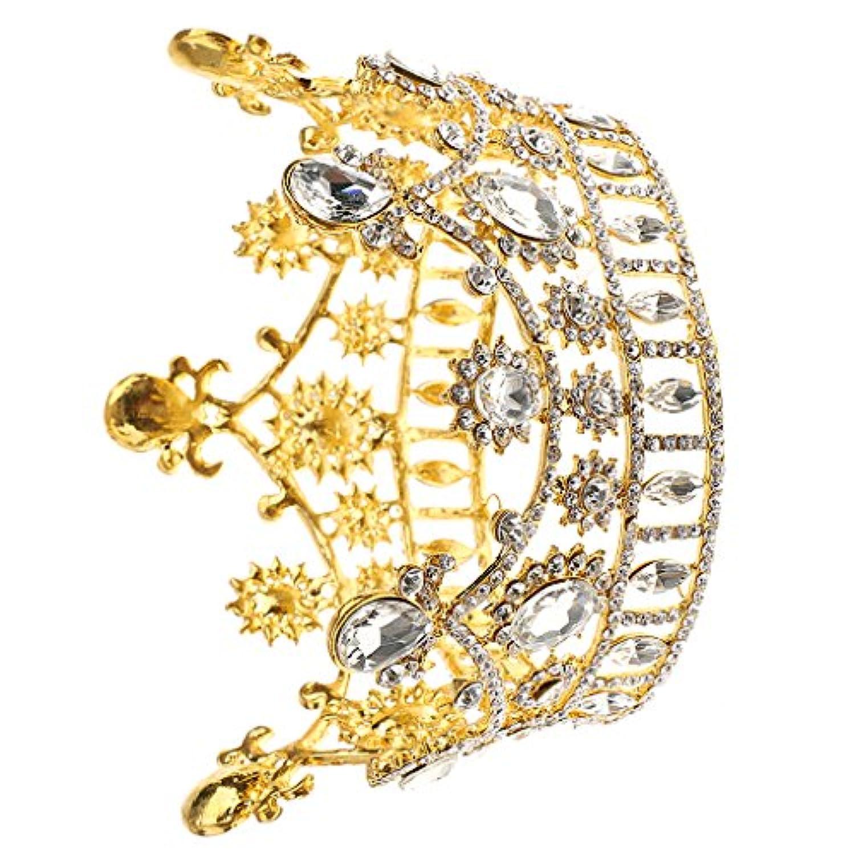 【ノーブランド品】ゴールド  結婚式 花嫁 ウェディングパーティー クリスタル ラインストーン ティアラ 王冠 ヘッドピース