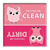 Guajolote Prints Clean Dirty Dishwasher Magnet 2.5 x 2.5 inches Pink Owls by Guajolote Prints
