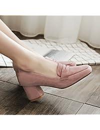 春の季節スクエアヘッド浅い口ハイヒールキャリアワークシューズ粗いヒールの靴レディースシューズ (色 : Pink, サイズ さいず : 38)