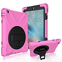 iPad 2/3/4 Back Case, DIGIC Hybrid PC Silicone Armor Defender Cover with Hand Strap 360 Degree Rotation Stander Full Protective Tablet Shell for Apple iPad 2/3/4, Pink