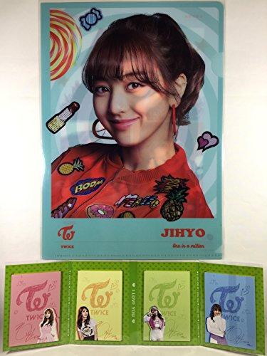 JIHYO (ジヒョ - TWICE (トゥワイス))/A4クリアファイル + 4つ折りメモパッド(4連メモ帳) セット - A4 Size Clear File Folder + Quarto Memo Pad (Mini Book Style) (TradePlace K-POPグッズ/韓国製)