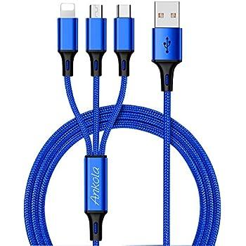 Micro usb ケーブル Ankola アンコーラ ライトニングケーブル USB Type-Cケーブル ライトニング 3in1 充電ケーブル 3A急速充電 高速データ転送対応 マイクロusbケーブル3A急速充電 高耐久編組ナイロンケーブル iOS / Android 同時給電可能 iPhone8 8plus 7 7 plus / 6 6s plus / iPad / Macbook 1本3役 多機種対応 1.2m (ブルー)