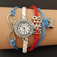 HYF GL68 ウォッチ レディース腕時計 織りレザー バングル オシャレ (色 : 青)