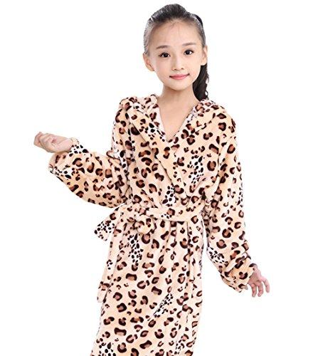 530bab7f04b25 Tortor 1bacha(JP) 男女兼用 バスローブ キッズ 可愛い ヒョウ柄 フード付 もこもこ フランネル 女の子 男の子 柔らかい  ルームウェア 子供用 パジャマ 長袖 .