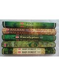 Hemお香Pine Balsamユーカリフォレスト最初雨5 x 20、100 Sticks