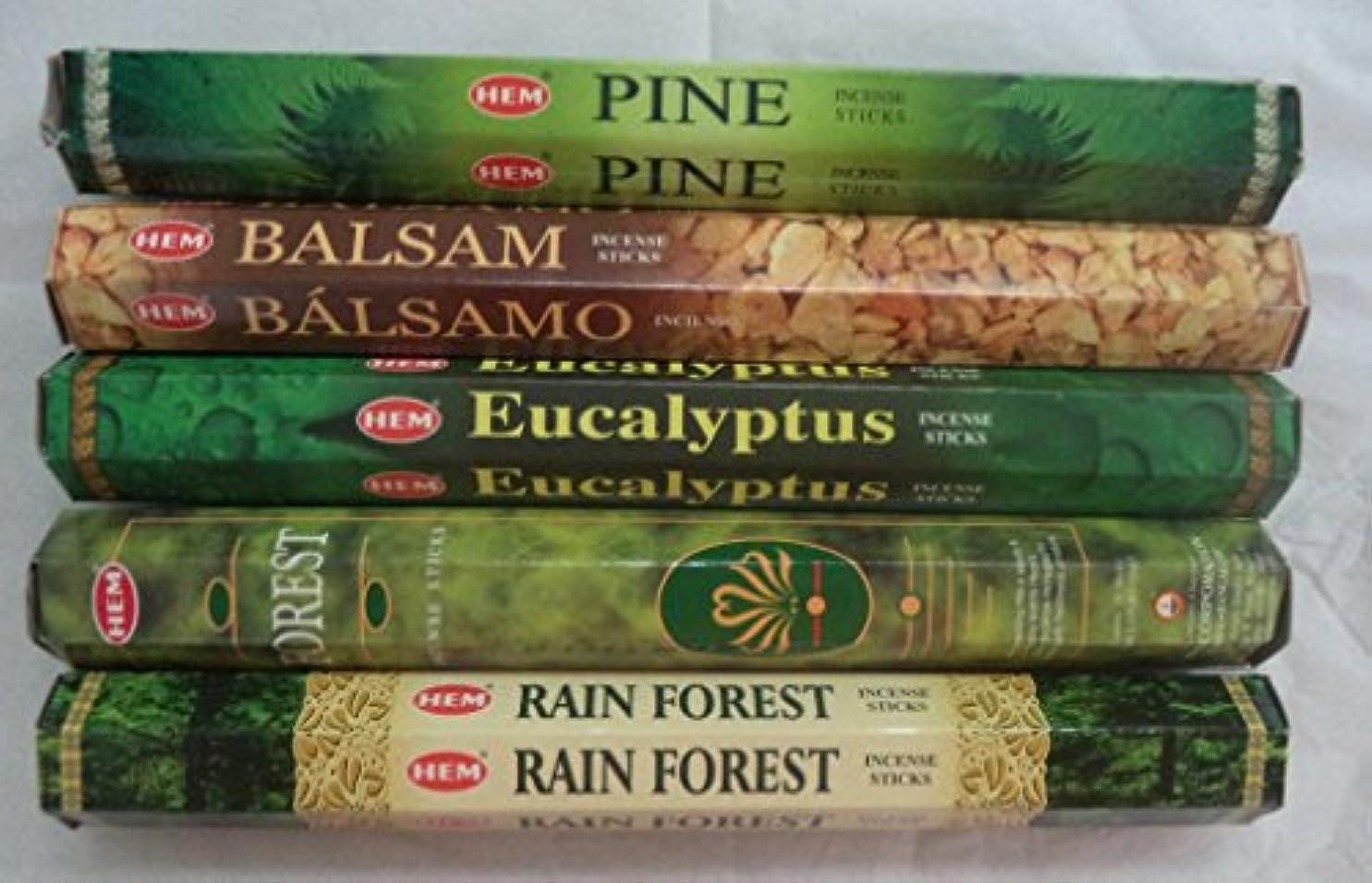 生態学レッスン電極Hemお香Pine Balsamユーカリフォレスト最初雨5 x 20、100 Sticks