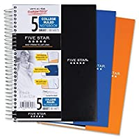 (2 Pack) - Five Star Spiral Notebook, College Ruled, 5 Subject, 15cm x 24cm, 180 Sheets, Assorted Colours (06184)Pack Of 2