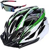 IZUMIYA 自転車 ヘルメット サイクリング 大人用 超 軽量 ロードバイク クロスバイク 通勤 スポーツ サングラス セット (ホワイト×グリーン)