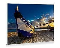 海、ビーチ、ボート、日没 - 壁の絵 壁掛け ソファの背景絵画 壁アート写真の装飾画の壁画 海 - (60cmx40cm)