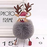 Bolange クリスマスシカの髪のボールのキーホルダーペンダント、絶妙なクリスマスの豪華なウィンドウクリスマスツリーの装飾クリスマスプレゼント(ダークグレー)