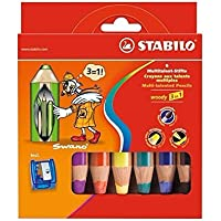 Stabilo Woody Crayons Set Of 6 W/Sharpener [並行輸入品]