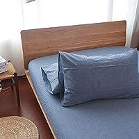 家庭用100 %コットンプレミアム品質シートset-deepポケットフィットsheet-ultraソフト、クール、通気性、低刺激性 Standard Pillowcases ブルー