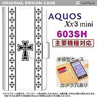 手帳型 ケース 603sh スマホ カバー AQUOS Xx3 mini アクオス ゴシック 黒 nk-004s-603sh-dr1005