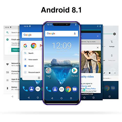 OUKITEL C12 PRO 4G SIMフリースマートフォン本体-6.18インチHD 全画面 19:9ディスプレイ Android 8.1 携帯電話本体 デュアルSIM(Nano) MTK6739 クアッドコア 2GBRAM+16GBROM 8MP+2MP リアデュアルカメラ 5MP フロントカメラ 指紋認識 顔認証 3300 mAh バッテリー【一年保証】 (紫)-9