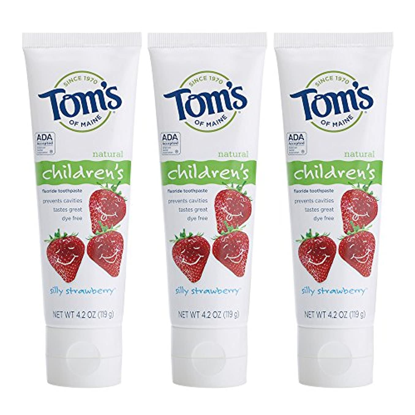 佐賀溶接瞑想的Tom's of Maine, Natural Children's Fluoride Toothpaste, Silly Strawberry, 4.2 oz (119 g)