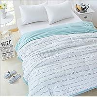 夏の羽毛布団涼しい夏の掛け布団の綿の夏のブランケットサイズ150 * 200/200 * 230センチメートル(カラーブルー、ピンク、ホワイト) (色 : 青, サイズ : 150 * 200)