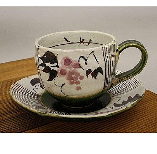 カップ ソーサー ケーキ皿 可愛い 織部ぶどう コーヒー碗皿 紅 美濃焼武山窯 葡萄