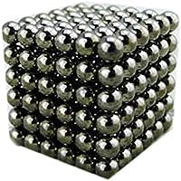 強力磁石の立体パズル!マグネットボール216個セット シルバー (5mm, 黒)