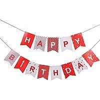 ペナントバナー誕生日パーティーlseng誕生日バナーペナントHappy誕生日のフラグパーティー – レッド(13pcs)