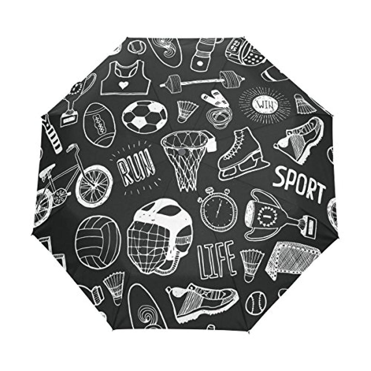 野球正午勝利したALAZA 自動開閉式折りたたみ傘 運動柄 うんどう柄 運動会 スポーツ柄 ポリウレタンコーティング カスタムデザイン ブラック 夏 8本骨 収納ケース付 UV 3段折 日焼け対策 プレゼント 部活