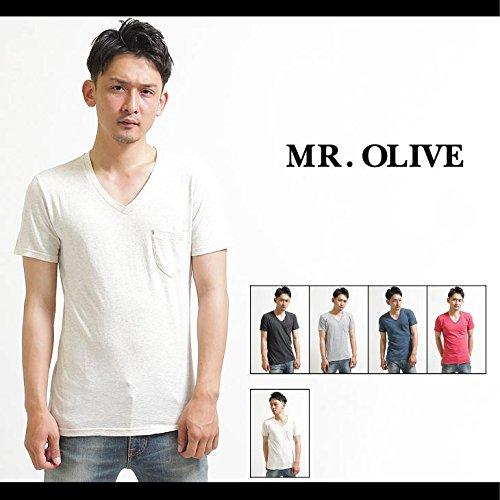 【MROLIVE(ミスターオリーブ)】トップカラー天竺 / Vネック ポケットTシャツ Mサイズレッド