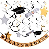 Maxdot 30 Pieces Graduation Party Hanging Swirls and Class of 2018 Party Banner for Decorations [並行輸入品]