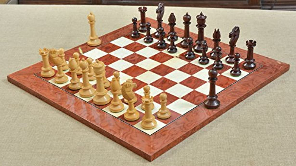 Combo of Repro Old Antique Edinburgh Upright Chess Pieces in Bud Rose / Box Wood & Red Ash Burl Maple Wooden Chess Board
