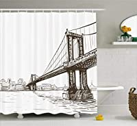 Ambesonne New York Shower Curtain, Digital Drawn Brooklyn Bridge Unusual Graffiti Style Old Urban Cityscape Print, Fabric Bathroom Decor Set with Hooks, 75 Inches Long, Brown White [並行輸入品]